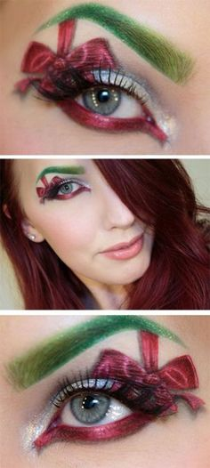 12 Christmas Fantasy Make Up Ideas, Looks & Designs For Girls 2014 Fantasy Make Up, Holiday Makeup Looks Christmas, Christmas Eve, Christmas Ideas, Makeup Tips, Eye Makeup, Makeup Ideas, Photomontage, Sexy Make-up