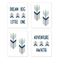 Shop for Sweet Jojo Designs Grey Navy Blue Mint Woodland Mod Arrow Collection Wall Decor Art Prints (Set of - Dream Big. Get free delivery On EVERYTHING* Overstock - Your Online Nursery Decor Shop! Get in rewards with Club O! Kids Wall Decor, Wall Art Decor, Wall Art Prints, Nursery Themes, Nursery Decor, Nursery Ideas, Room Decor, Room Ideas, Themed Nursery