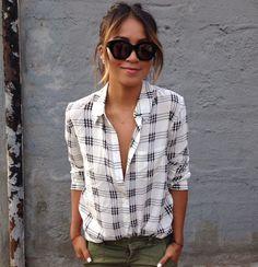 Fashion Blogger Julie Sarinana / Sincerely Jules --------------------- Blouse: Equipment Cargos: Free People,  Necklaces: Gabriela Artigas, Sunglasses: Karen Walker