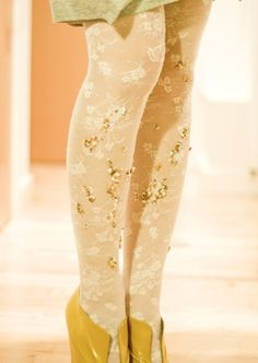 lace tights with carefully sewn sequins and beads. Floral Tights, Lace Tights, Sparkly Tights, Colored Tights, Patterned Tights, Tight Leggings, Beaded Lace, Refashion, Diy Fashion