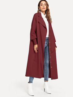 Shop Single Breasted Solid Trench Coat online. SheIn offers Single Breasted  Solid Trench Coat  amp 03e5fe9cd2c5
