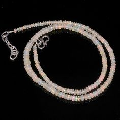 "40CRTS 3to5MM 18"" ETHIOPIAN OPAL RONDELLE BEAUTIFUL BEADS NECKLACE OBI2690 #OPALBEADSINDIA"