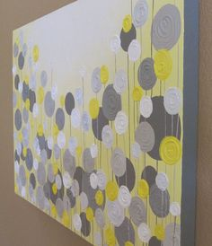 """Yellow and Grey Textured Painting, Abstract Flowers, Large 24x36"""" Acrylic Painting on Canvas"""
