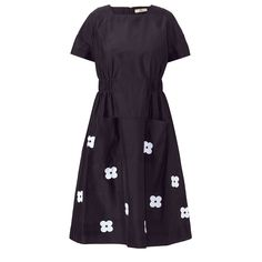 Orla Kiely: Relaxed fit square neck dress in a silk/cotton blend, with drop shoulder, gathering at waist and pretty embroidered flowers on hem. This style is unlined.    Length: 104cm (centre back)