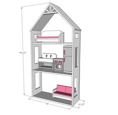 "Ana White | Smaller Three Story Dollhouse for 18"" and American Girl Dolls - DIY Projects"