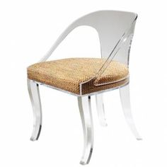 Curved Back Klismos Style Acrylic Occasional Chair Designed by Timothy Whealon Curved Back and Open Side Arm with Upholstered Seat Front and Back Curved Legs Seat 16.5