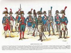 Las tropas Españolas en 1808. Dibujos de Louis de Beaufort