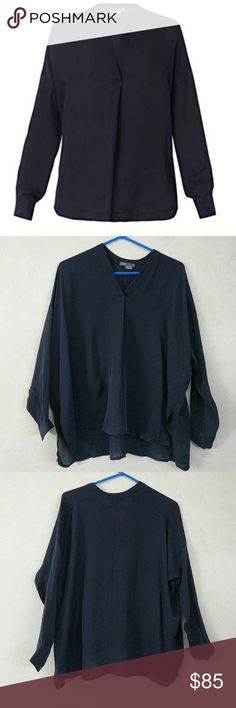 """Vince Silk Navy Blue Blouse New without tags. Never worn. Perfect condition. Approximate measurements Chest flat across 26.5"""" Length 23.5"""" Sleeve 21""""  100% silk Vince Tops"""