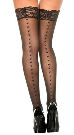 Heart Lace Thigh-High Stockings #boudoir #pinup #vintage