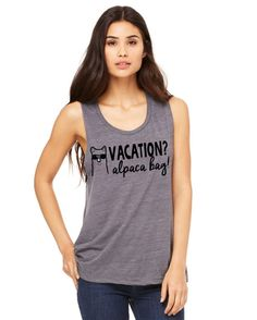 Vacation Alpaca Bag Muscle Tank by yogatops on Etsy