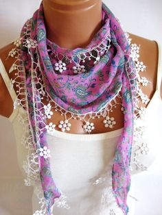 Pink White Multicolor women scarf Summer trend by WomanStyleStore, $12.00