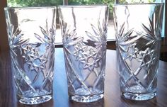 "3 Vintage Early American Prescut 16 oz Iced Tea Glass Tumblers 6"" Tall picclick.com"