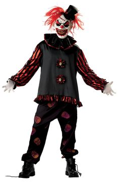 Scared of clowns? You will be! Demented, grinning evil clown costume includes long sleeve shirt, screen printed skull pants, mask with hair, hat, and neck ruffle. White gloves (BA01) sold separately.