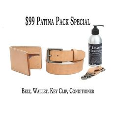 $99 patina pack special this weekend. Get a bifold belt key fob and conditioner all for $99.