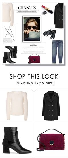 """""""Be who you are and say what you feel, because those who mind don't matter, and those who matter don't mind."""" by nina-lala ❤ liked on Polyvore featuring CO, Sonia Rykiel, Givenchy, Jimmy Choo, Armani Exchange and Chanel"""