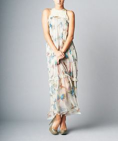 Love this White & Blue Butterfly Silk Maxi Dress on #zulily! #zulilyfinds