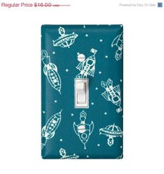 Teal rocket light switch plate cover