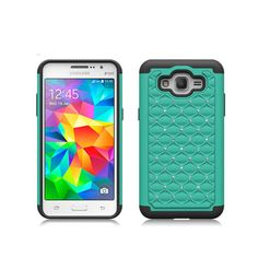 SAMSUNG GALAXY GRAND PRIME/G530 TEAL/BLACK BLING DIAMOND HARD PLASTIC CASE COVE