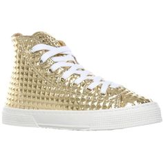 Kurt Geiger London Calling Textured Hi Top Metallic Trainers, Gold ❤ liked on Polyvore