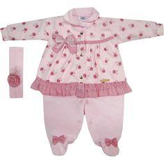 Macacão Bebê Menina em Plush e Soft com Faixa de Cabelo Rosa - Sonho Mágico :: 764 Kids   Roupa bebê e infantil