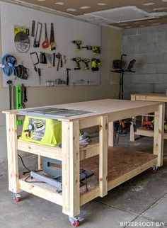 DIY Mobile Workbench | build a mobile workbench with your table saw with plans from Bitterroot DIY