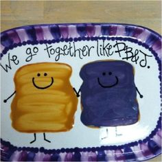 We go together like PB J! Ceramic plate click the image or link for more info. Painted Ceramic Plates, Ceramic Painting, Ceramic Pottery, Ceramic Art, Painted Pottery, Pottery Painting Designs, Pottery Designs, Paint Designs, Pottery Ideas