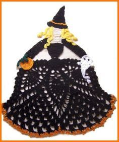 easy doily crochet patterns free | Halloween Fall Crochet Doily Patterns Collection Witch