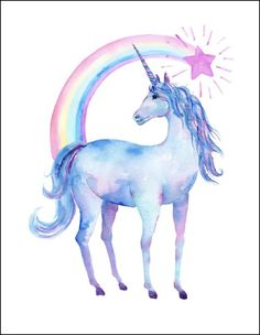 Free Printable Watercolor Unicorn Pictures | Unicorn Art | OHMY-CREATIVE.COM | Rainbow Unicorn Artwork | Girls Room Decor | Unicorn Art for Kids | Rainbow Artwork for Kids #unicorn #unicornart #printableunicorn