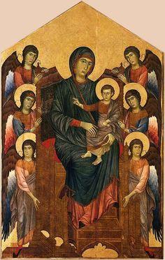 Cenni di Pepi, dit Cimabue, La Vierge et l'Enfant  en majesté entourés de six anges - vers 1270 - détrempe sur bois - 427 x 280 cm - Musée du Louvre Paris