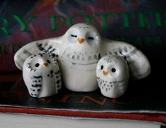 Snowy Clay Owl Family- Harry Potter Inspired Owlery Hedwig Miniature. $33.00, via Etsy.