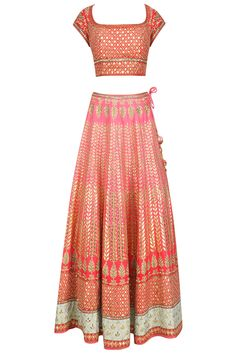 Pink and red gota patti lehenga set available only at Pernia's Pop Up Shop.
