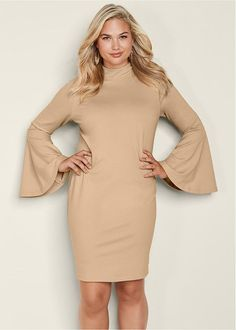 Venus Women's Plus Size Bell Sleeve Dress - Brown , 3X