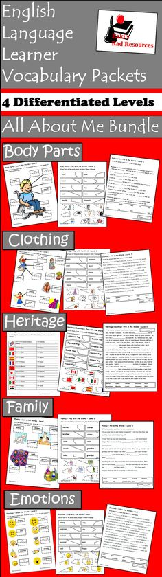 There are five vocabulary packets in this bundle, all geared to help English Language Learners describe themselves. Each packet has four levels so that you can reach students all the way from beginners to advanced. For each level there are five activities to help students build their vocabulary knowledge through quality activities. Download all 5 packets in this bundle for just $18.00.