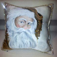 cuscino dipinto a mano natalizio di la bottega di mamilu su DaWanda.com