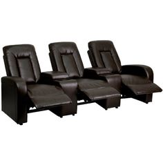 Flash Furniture 3-Seat Brown Leather Home Theater Recliner with Storage Consoles | Best Furniture Deals 4U #PC-Gaming-Chair #Gaming-Chair