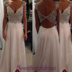 Long prom dress with straps, beaded v-neck ball gown for teens, prom