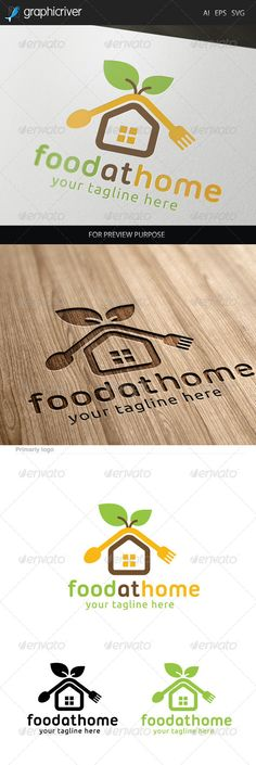 Food at Home Logo. by Aestro Food at Home Logo design for creative studio company. Featured:AI Document EPS 10 Document PDF Document Vector (Re-s Food Logo Design, Logo Food, Creative Studio, Word Template Design, Home Bar Signs, Home Gym Decor, Real Estate Business Cards, House Color Schemes, Vintage Design