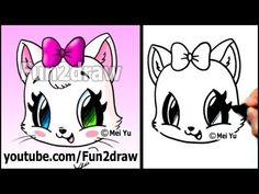 Easy kittens to draw cute cat how to draw a cat face kitten with bow easy Easy Cartoon Drawings, Cartoon Drawing Tutorial, Easy Drawings For Kids, Kawaii Drawings, Animal Drawings, Cute Drawings, Cartoon Illustrations, Face Illustration, Drawing Tutorials