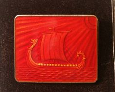 Thune Norway sterling vintage gold brooch red enamel viking ship sea dragon
