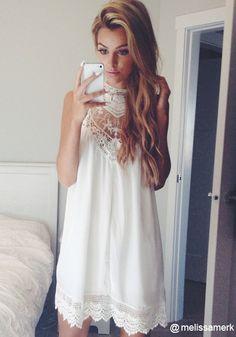 Lace Chiffon Mini Dress - White