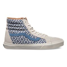 The Vans SK8-Hi Reissue CA is made with authentic Italian woven fabric in brich/captain blue