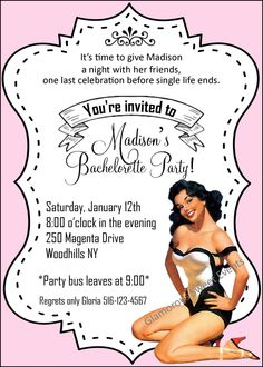 Items similar to Bachelorette Invitation,- Shower Invitation - Includes a FREE Thank You Card - Printable - Glamorous Sweet Events on Etsy Pin Up Party, Party Bus, Party Time, Bachelorette Invitations, Shower Invitations, Pin Up Posters, End Of Life, Hens Night, Youre Invited