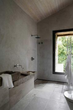 rustic cave-like bathroom