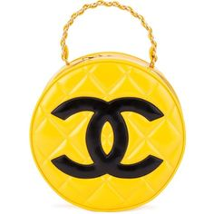 Chanel Vintage Round Logo Clutch ($7,192) ❤ liked on Polyvore featuring bags, handbags, clutches, patent leather purse, yellow patent leather handbags, chain purse, chanel pochette and structured handbag