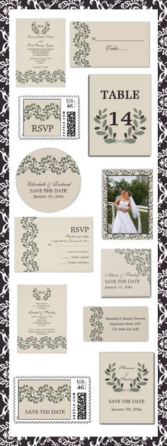 Olive branch garland and wreath Grecian style beige wedding personalized invitations and matching ensembles. #olivebranch, #olivewreath, #weddinginvitations, #weddings, #invites, #Grecian, #beige