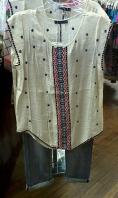 THML top with navy and orange accents -- great for weekend or work!