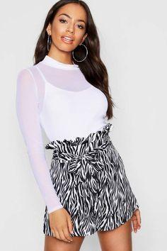 Zebra Tie Waist Paper Bag Shorts Paper Bag Shorts, Urban Outfits, Zebra Print, Boho Shorts, Boohoo, Beauty Hacks, Short Dresses, Cuff Jewelry, Tie