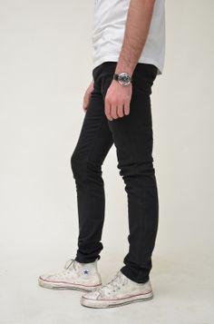 Black Sateen  Skinny Jeans
