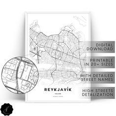 Reykjavik Map Printable Wall Art, Maps As Art, Reykjavik City Map Wall Art Prints, Map Gifts, Minimalist Printable Map Of Reykjavik Poster Map Wall Art, Map Art, Wall Art Prints, Printable Maps, Printable Wall Art, Printables, Etsy Handmade, Handmade Jewelry