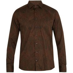 Etro Paisley-print single-cuff cotton shirt ($420) ❤ liked on Polyvore featuring men's fashion, men's clothing, men's shirts, men's casual shirts, mens tailored shirts, mens slim fit casual shirts, mens double cuff shirts, mens lightweight shirts and mens slim fit shirts